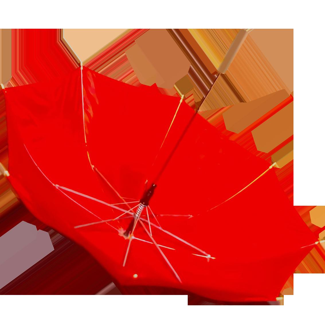 red umbrella blown upside down