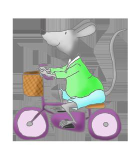 cute mice clip art with bike