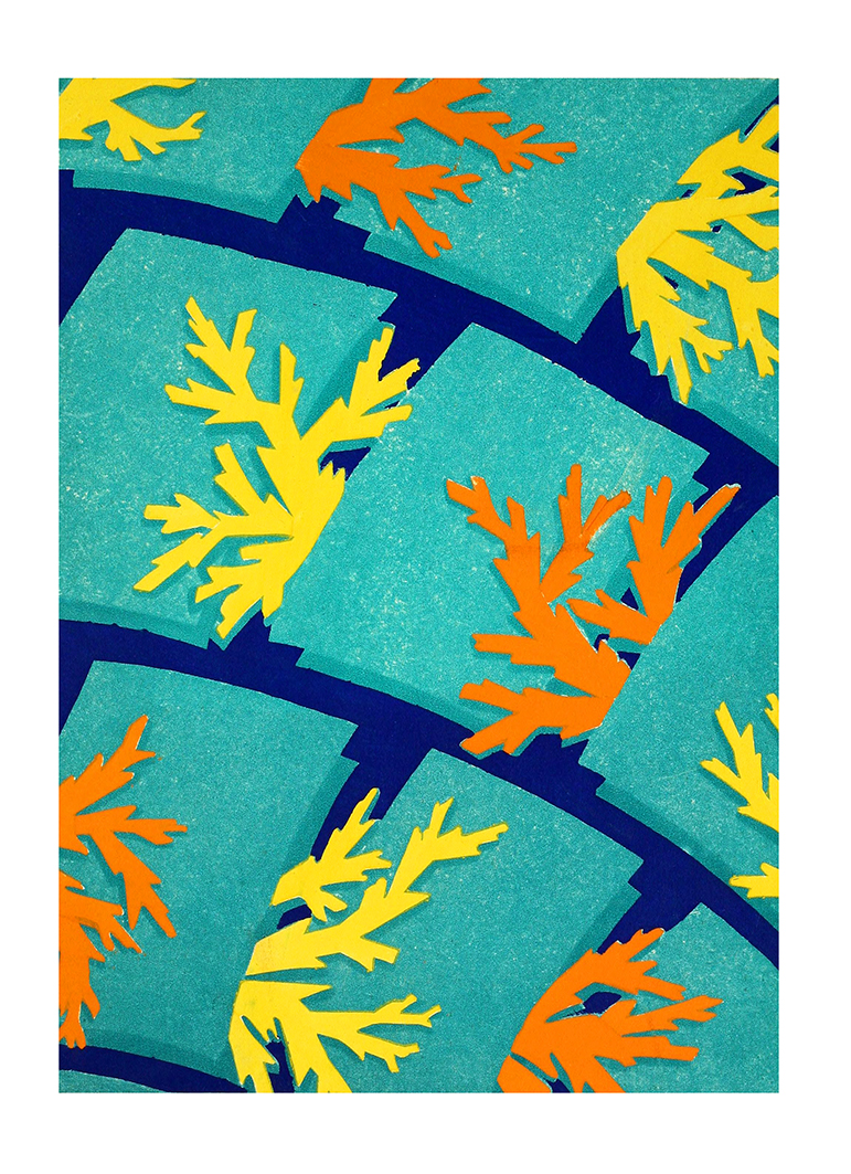 coral patterned art deco picture