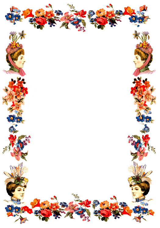 Victorian frames with ladies hats and flowers