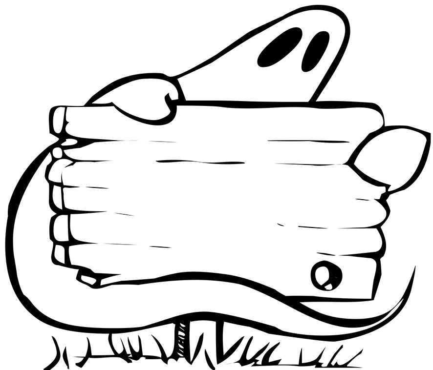 ghost with sign for Halloween
