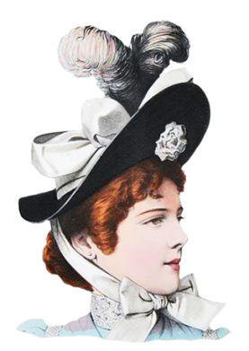 Victorian hat clip art with feathers and bow