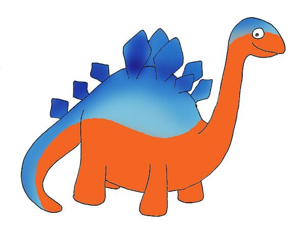 blue and orange dinosaur clipart