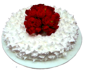 round wedding cake clipart with red roses