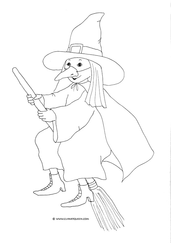 girl dressed as halloween witch on broom