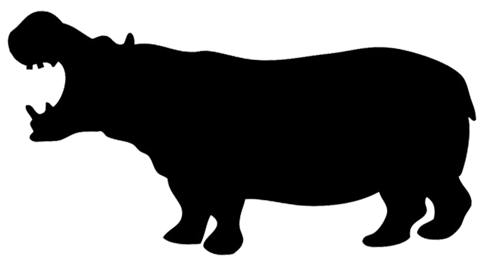 silhouette of hippo
