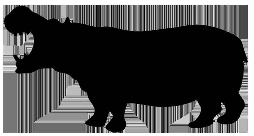 silhouette of hippo