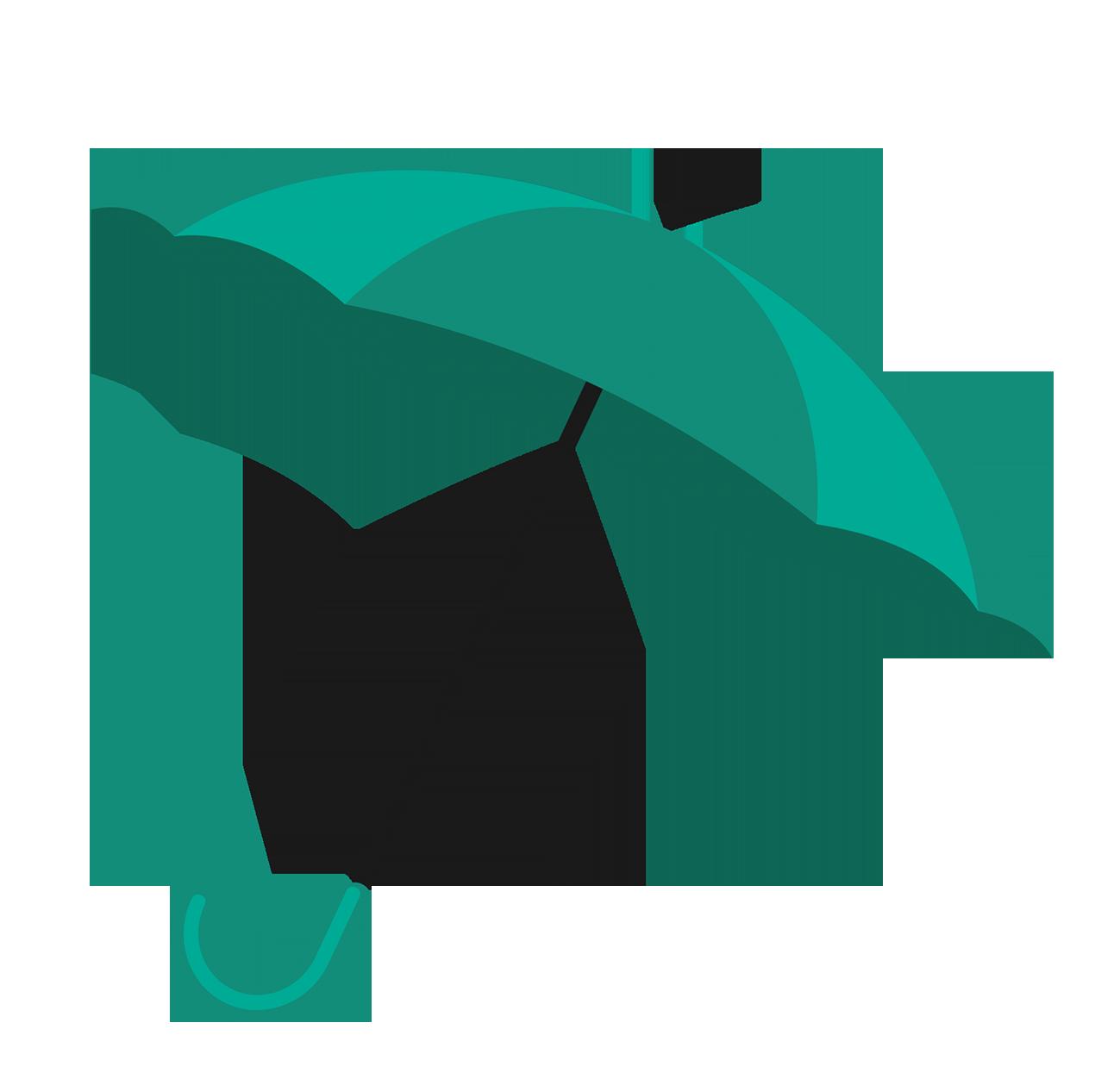 two colored green umbrella