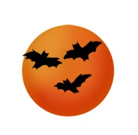 Halloween graphics with bats and moon