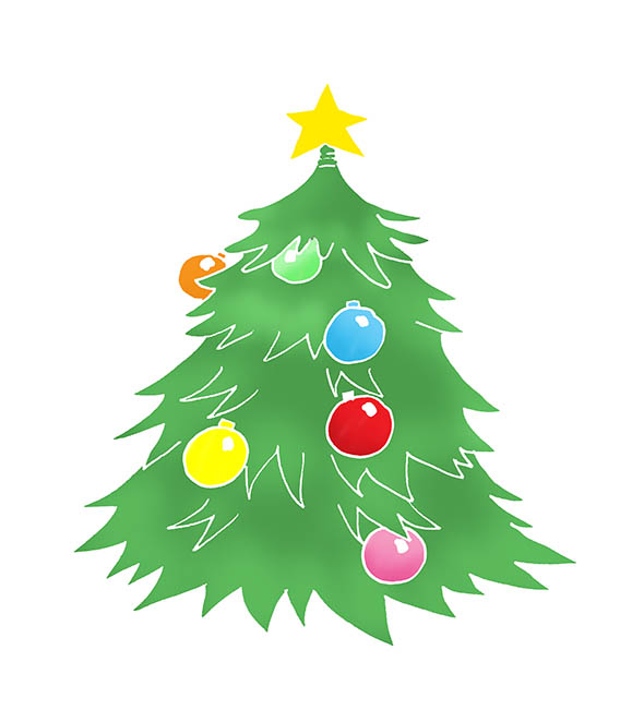 Christmas tree clip art decorated star