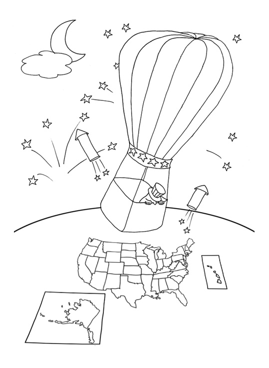 July 4th coloring pages weather balloon map USA