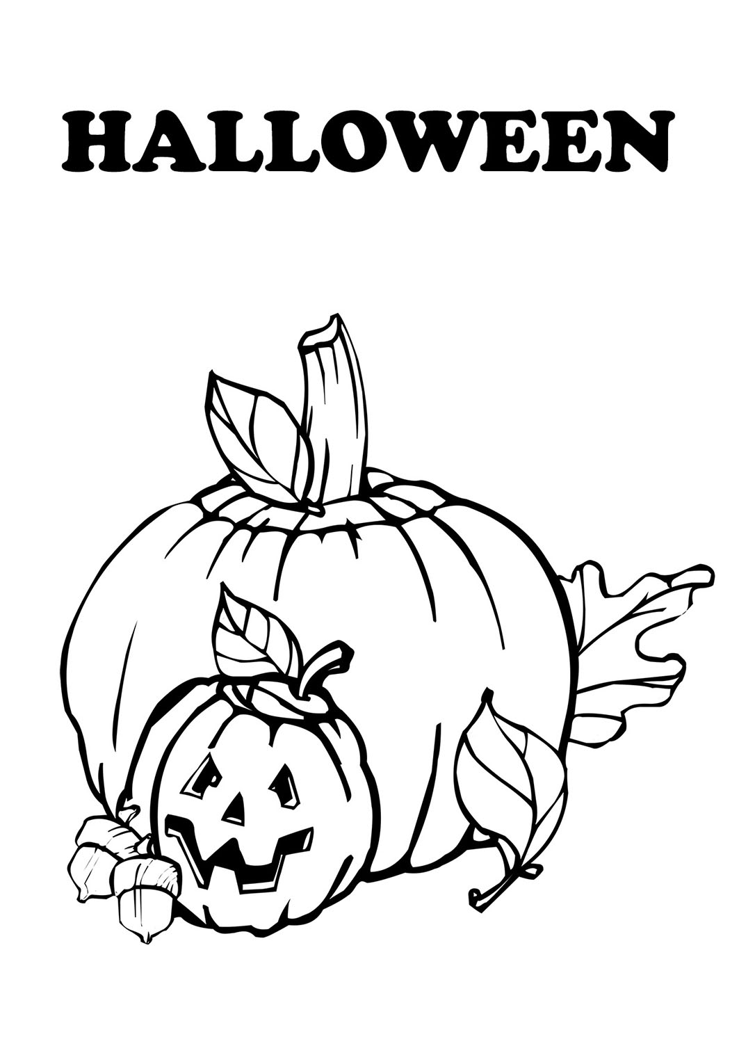 coloring page with carved pumpkins