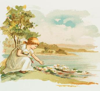 summer drawings girl water lillies