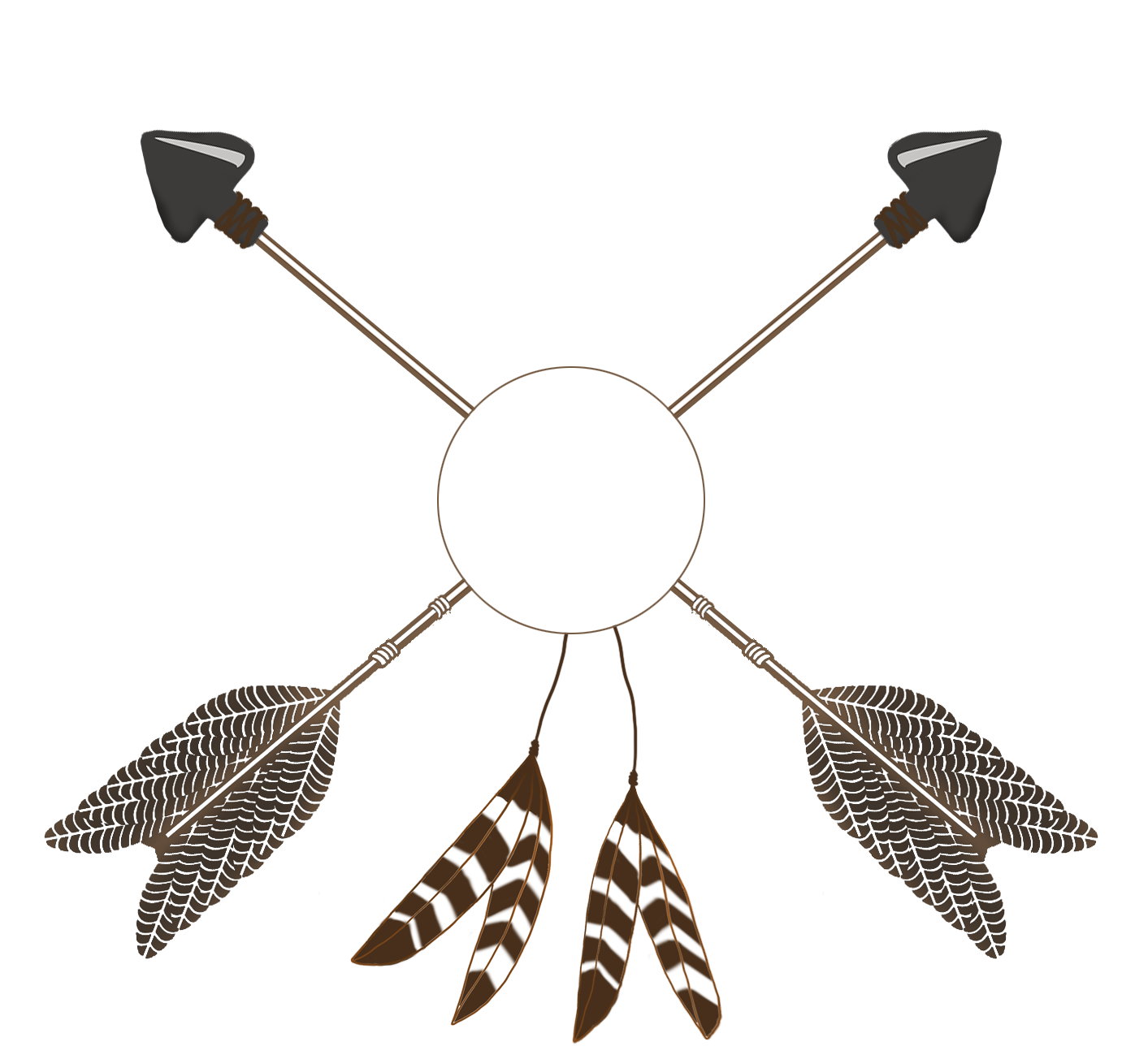 crossed tribal arrows with feathers