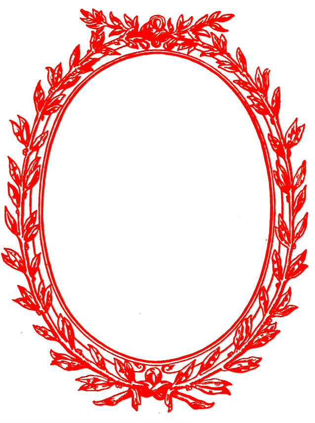 oval Victorian red frame