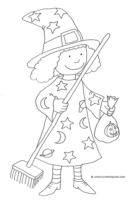 Halloween coloring pages small witch with broom