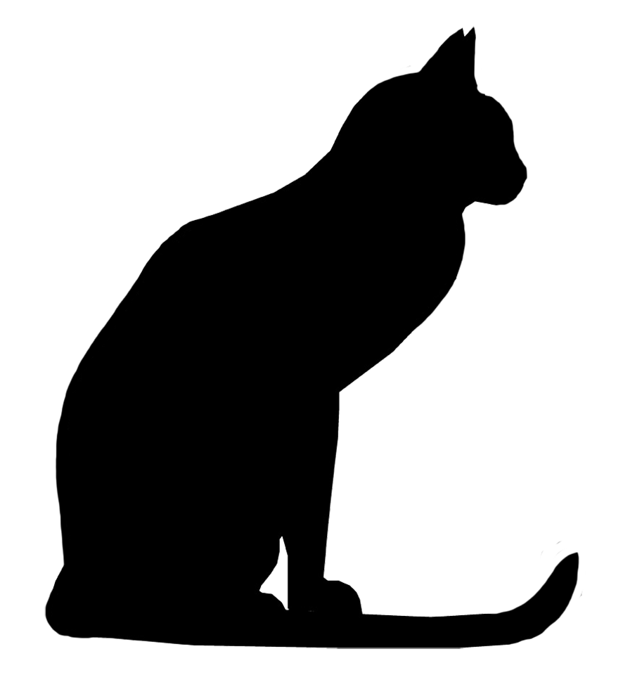cat with long tail silhouette