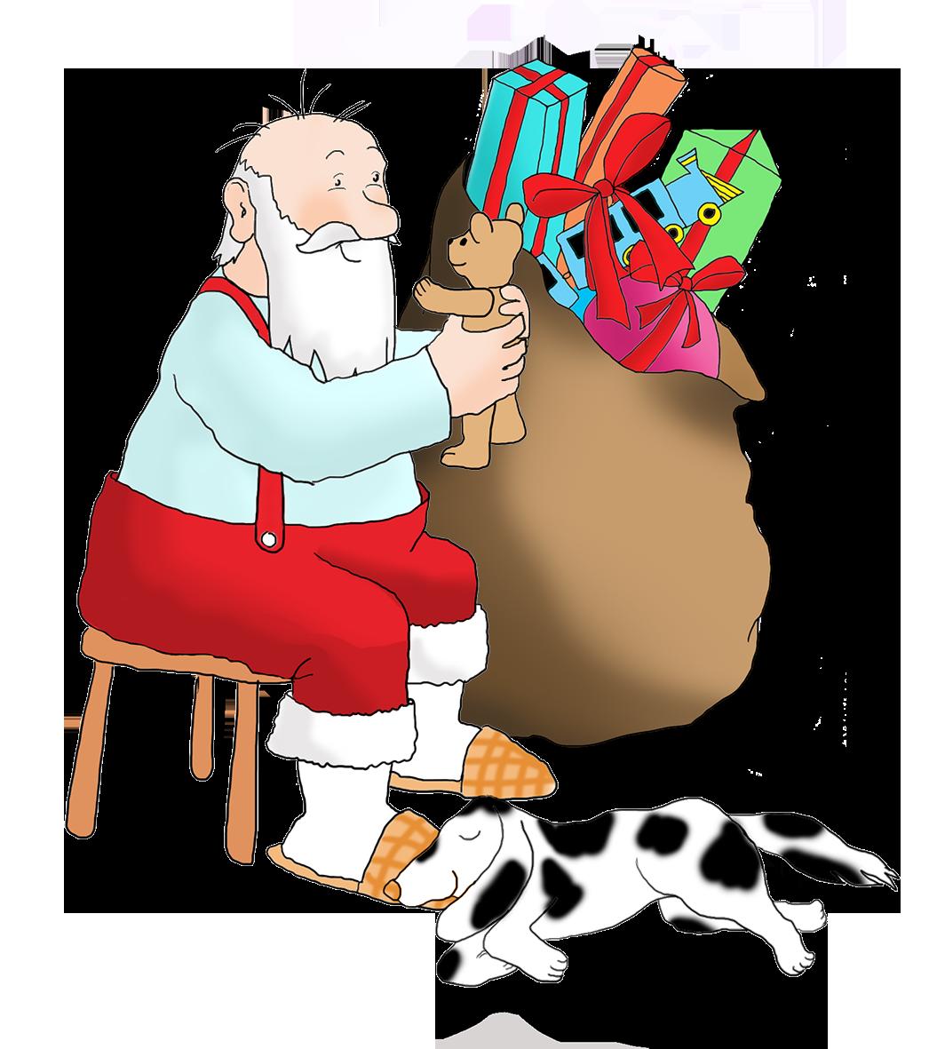 Santa with dog and Teddy bear