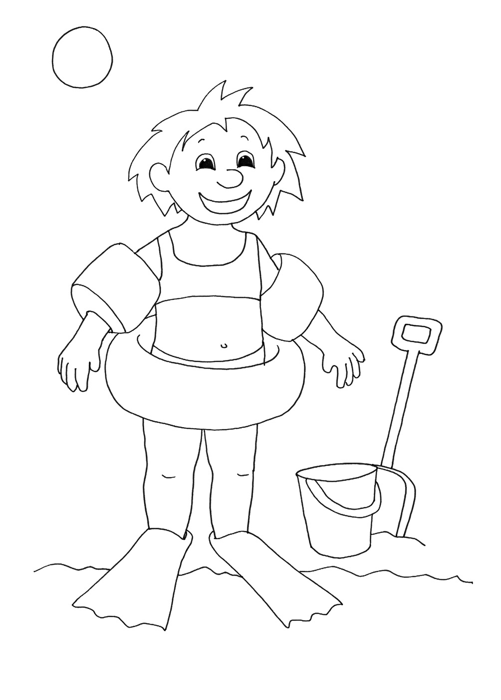 free coloring page sheets for kids girl beach
