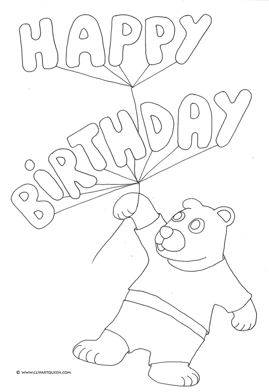 happy birthday coloring pages balloons teddy bear