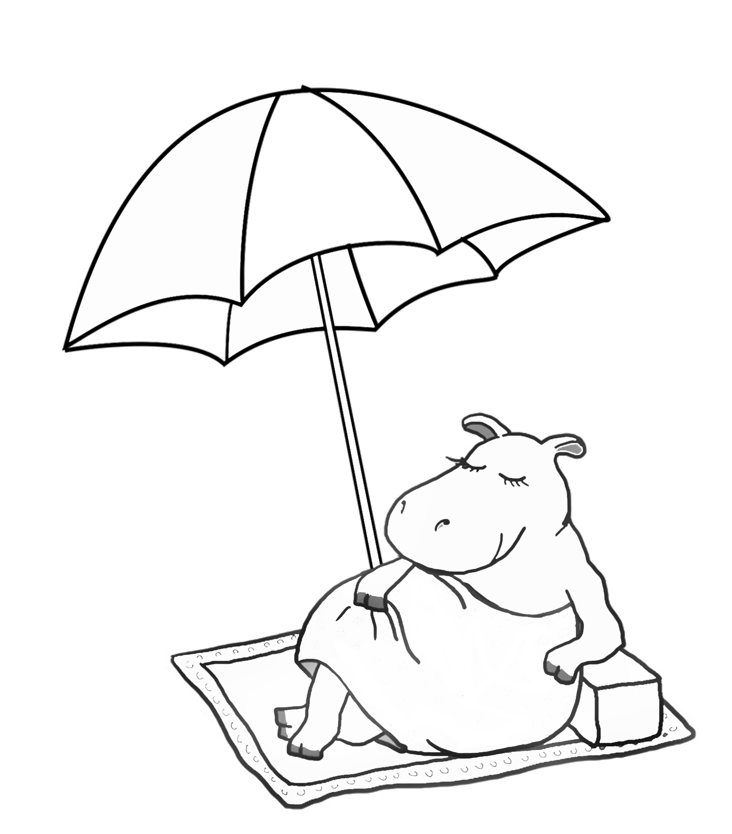 funny summer coloring with hippo and parasol