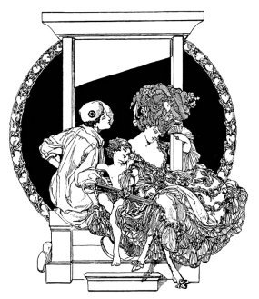 Scary Art Nouveau picture with the guillotine