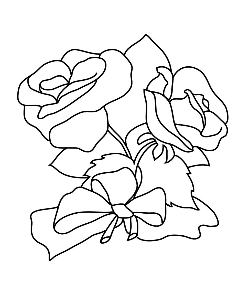 coloring page with roses and bow