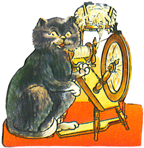 vintage scrap of cat spinning