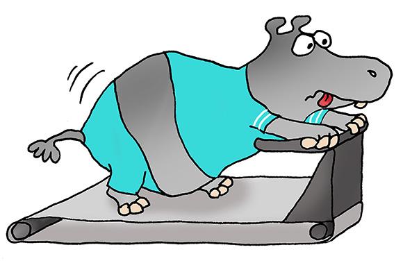 cartoon hippo on treadmill