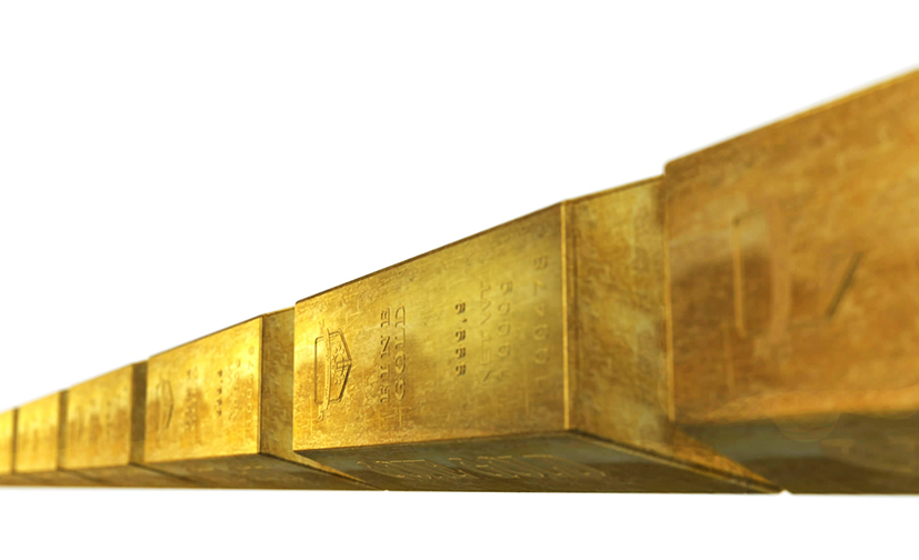 line of gold bars