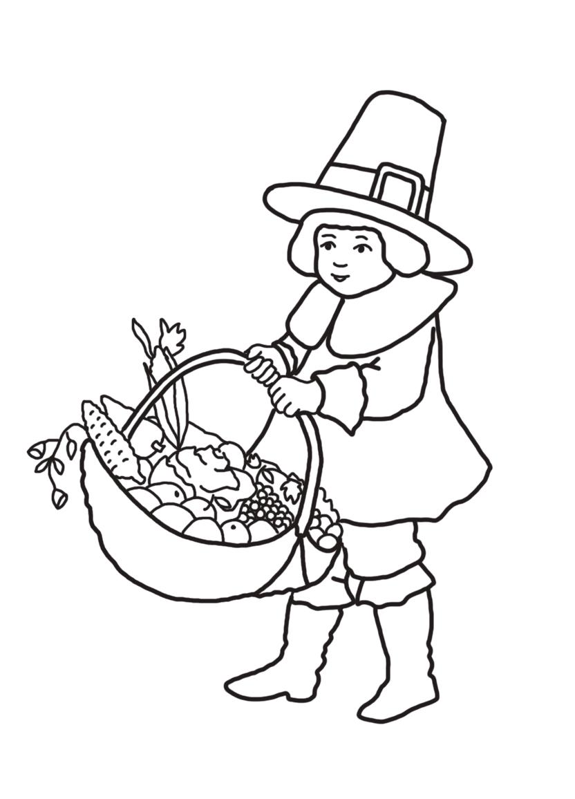 pilgrim boy with Thanksgiving basket with fruit
