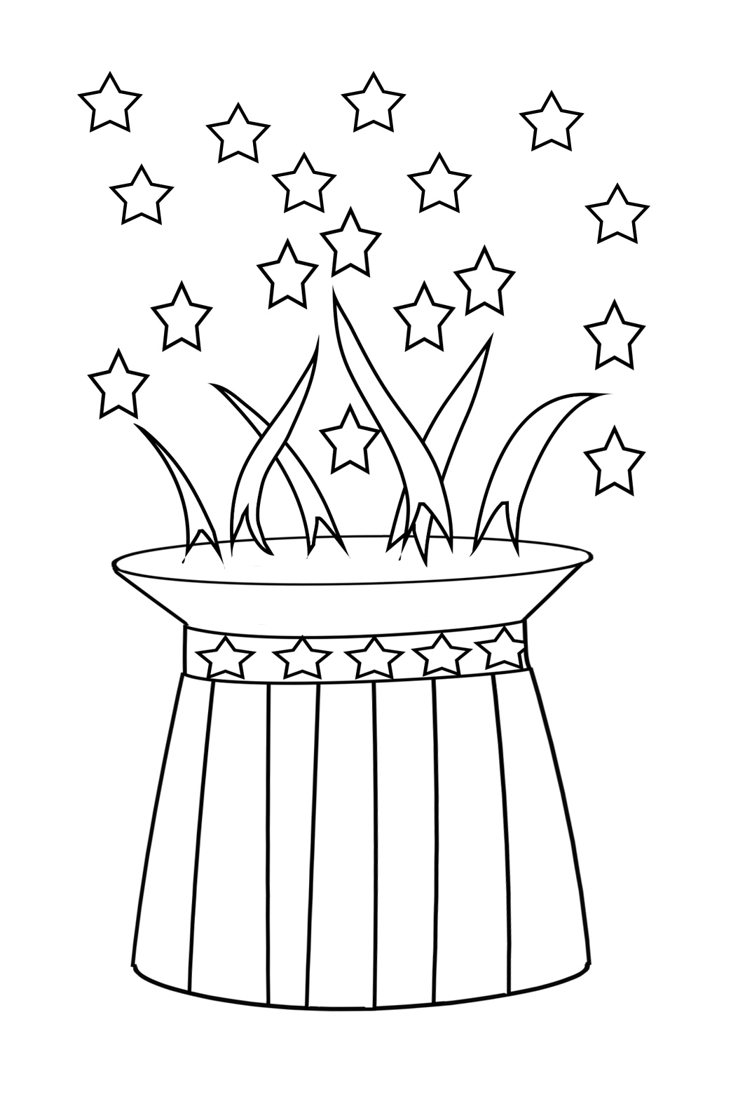 coloring page for 4th of July hat firework