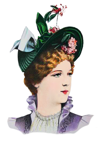 green Victorian hat with flowers