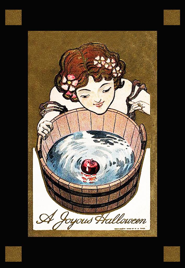 art nouveau halloween postcard apple in water