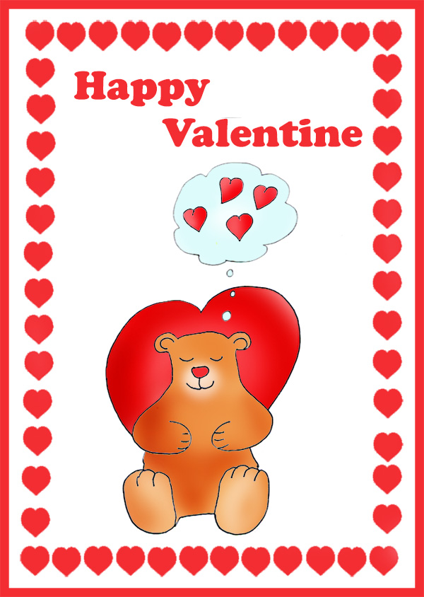 cute Valentine card for kids bear love hearts