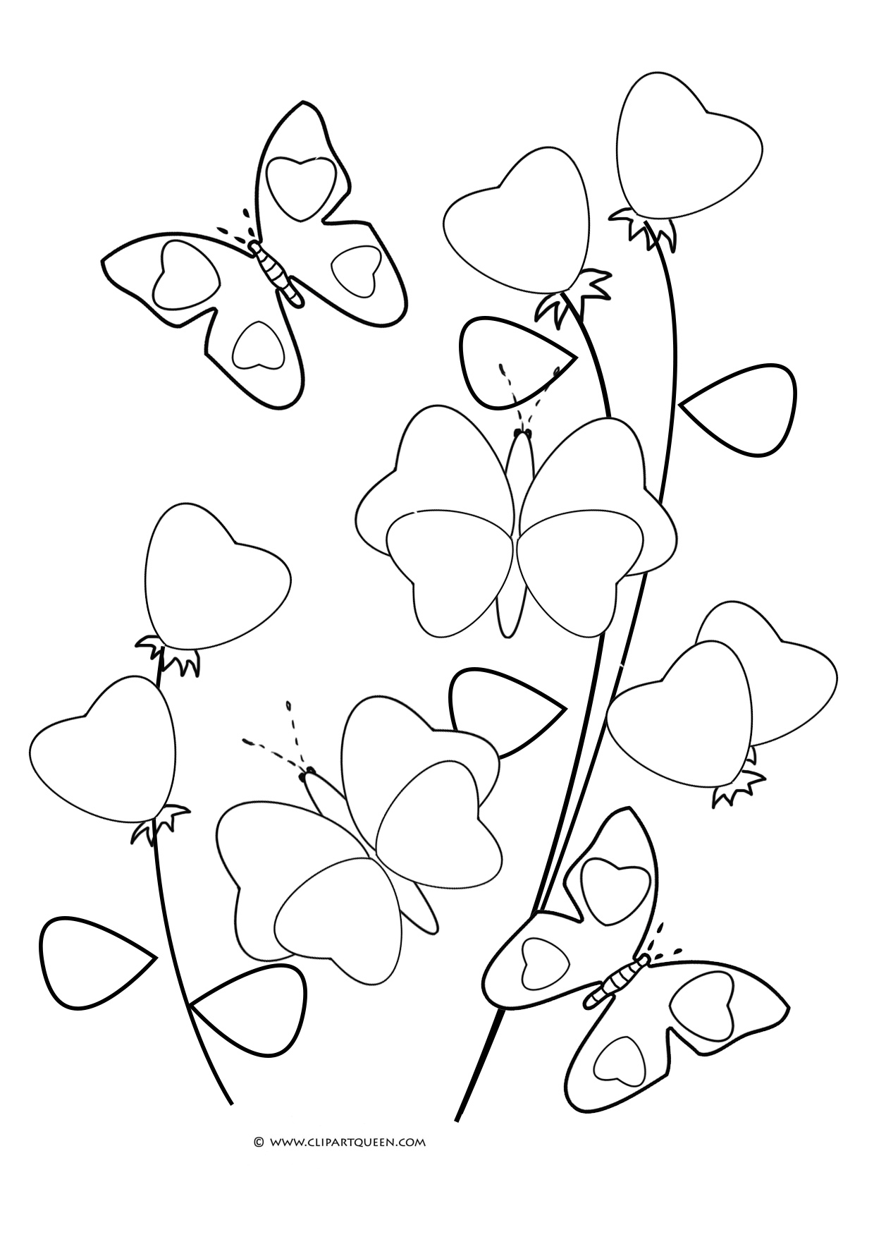 heart shaped butterflies and flowers