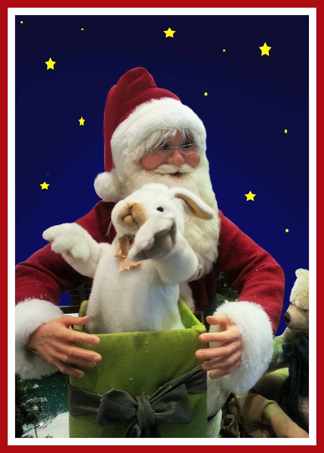 Father Christmas with a bunny