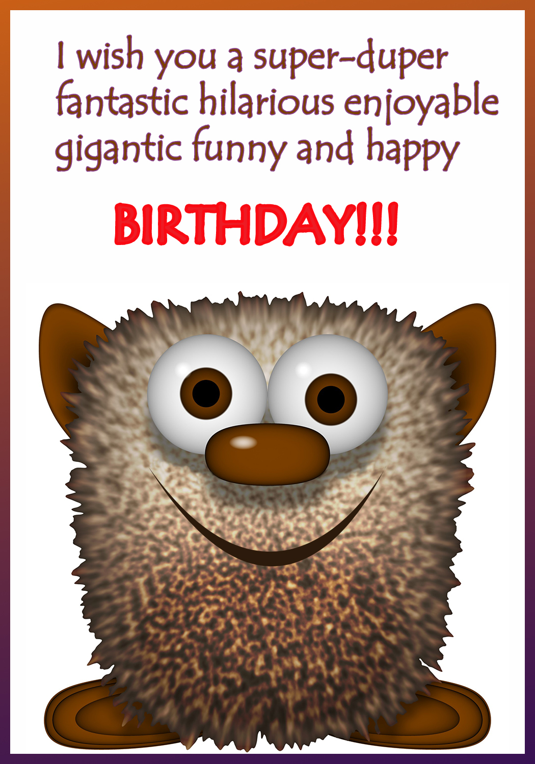 funny birhtday greeting card to print