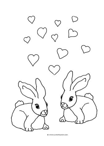 two bunnies in love coloring page