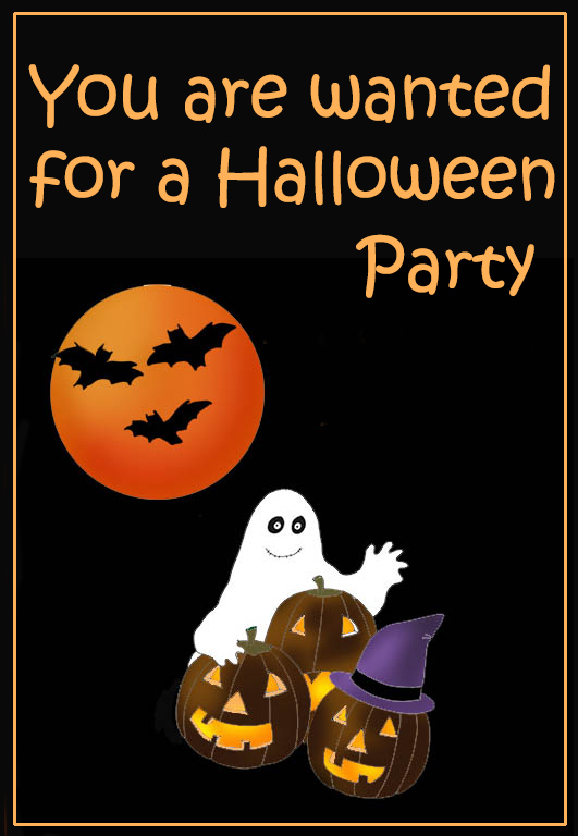 halloween party invitation with bats and ghost
