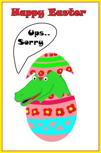 Easter egg with crocodile baby