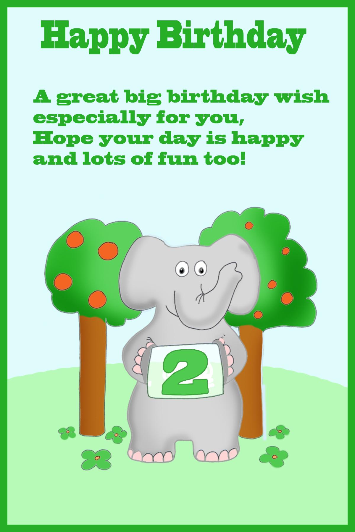 Happy 2nd birthday card elephant
