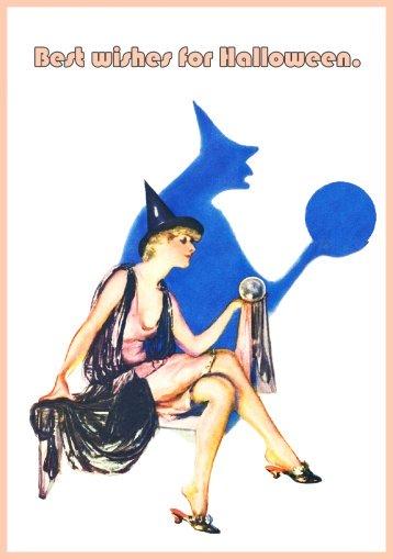 beautiful Halloween witch postcard