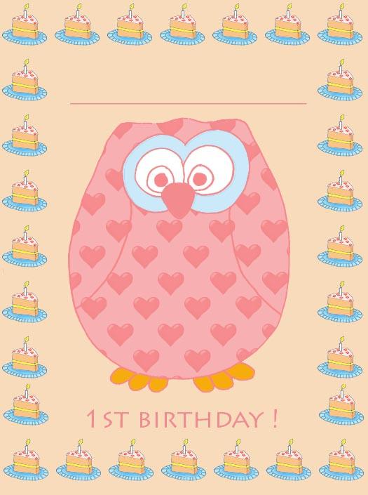 1st birthday invitation with owl