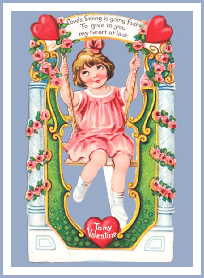 To my Valentine, old Victorian Valentine card for kids