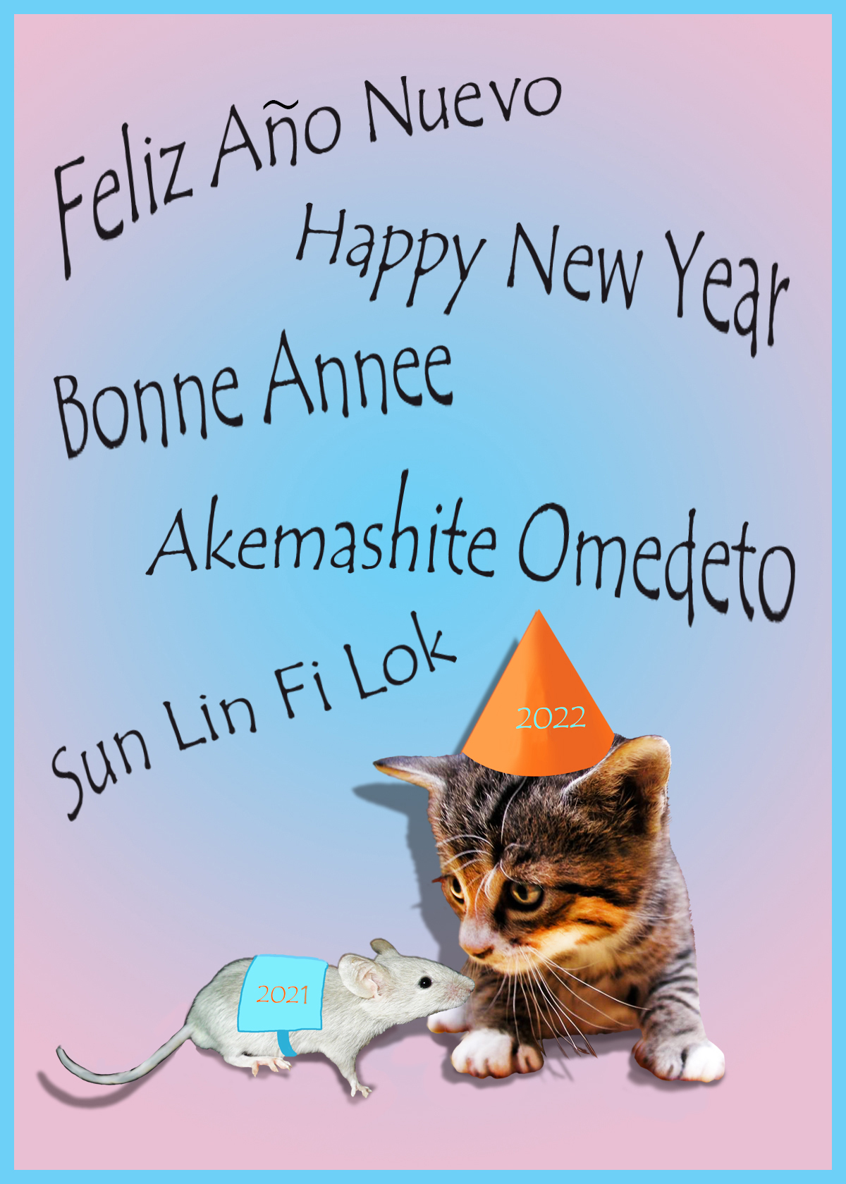 cat and mouse new years day card