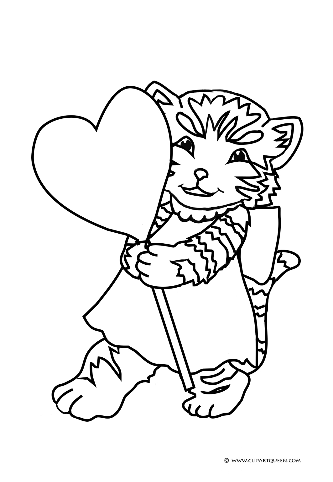 Coloring page for kids for Valentine