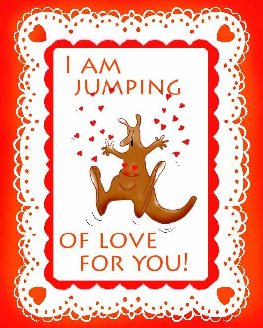 valentines day cards love kangaroo