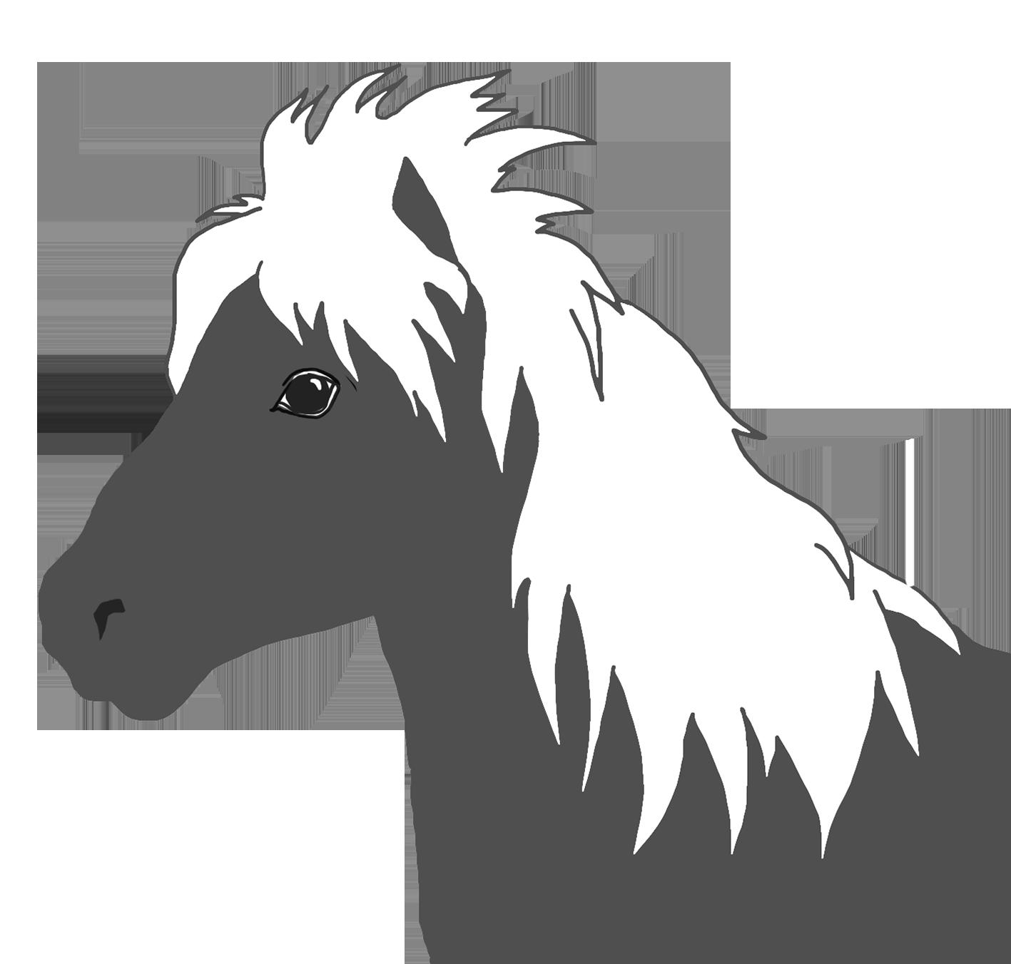 horse head silhouette white mane
