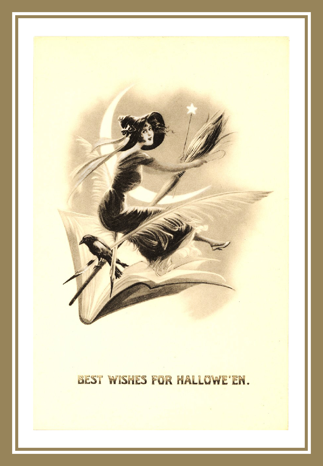 Vintage Halloween postcard with and moon